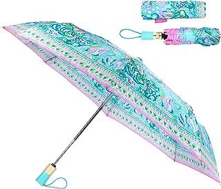 RLDSESS Art Travel Folding Umbrella Automatic Opening and Closing,Art Painted Flower White Blue Pattern Blue,Windproof 42 Inches Ladies Rainproof 10 Ribs Men
