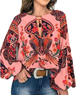 S-Fly Women Printed Casual Top Crew Neck Loose Fit Lantern Sleeve Blouse Tops Shirts