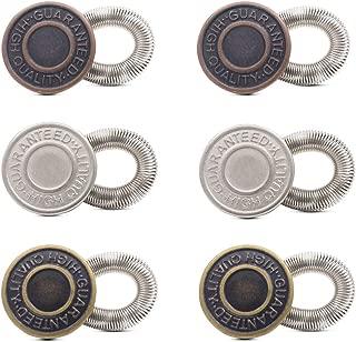 6Pcs No Sew Elastic Spring Metal Jeans Button Pants Extenders 20mm Antique Brass Waistband Extender