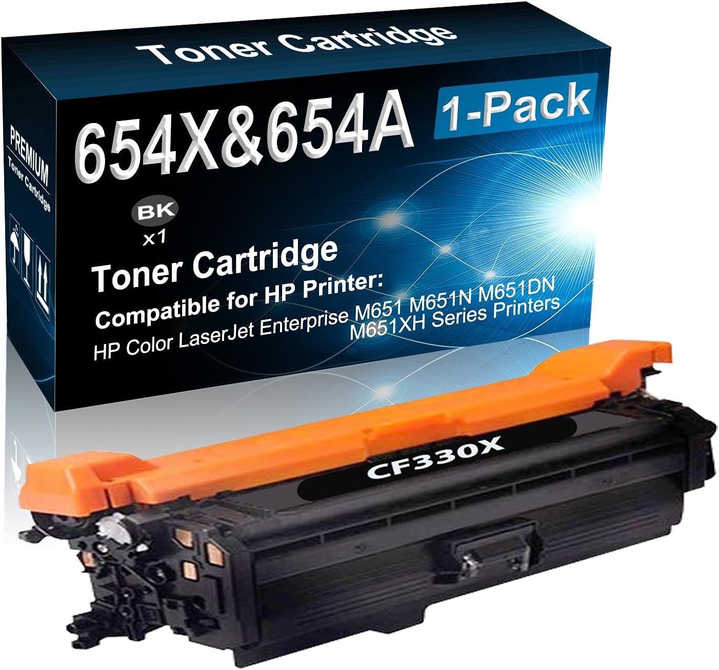 1-Pack (Black) Compatible M651 M651N M651DN M651XH Color Toner Cartridge (High Capacity) Replacement for HP 654X 654A (CF330X) Printer Toner Cartridge