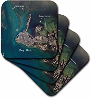 3dRose Print of Aerial View Key West Us-Pd Gov NASA - Ceramic Tile Coasters, Set of 4 (CST_204850_3)