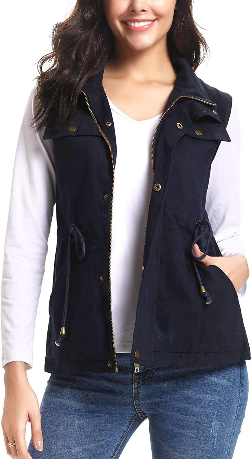 IClosam Women Lightweight Anorak Vest Military Utility Sleeveless Jacket Vest