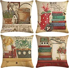 ULOVE LOVE YOURSELF Set of 4 Retro Throw Pillow Covers 18 x 18 inches Sweet Home Decorative Pillowcases Cushion Covers for Couch Sofa Bed Patio Car(Home Decor)
