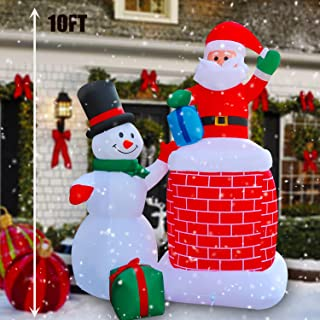 SEASONBLOW 10 Ft LED Light Up Inflatable Christmas Snowman Santa Claus in Chimney with Gift Box Xmas Decoration for Yard Lawn Garden Home Party Indoor Outdoor