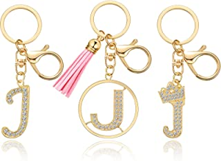 Hicarer 3 Pieces Letter Keychain Crystal Rhinestone Studded Alphabet Initial Gold Letter Keyring Letter Pendant Keychain f...