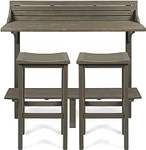 Christopher Knight Home 304147 Cassie Outdoor 3 Piece Grey Finish Acacia Wood Balcony Bar Set