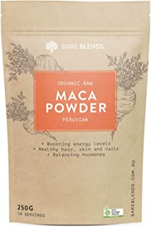 Bare Blends Organic Raw Peruvian Maca Powder - Australian Certified Organic (ACO) - Balance Hormones - 250g