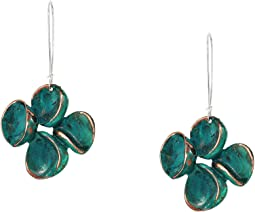 Green Patina Sculptural Flower Long Drop Earrings
