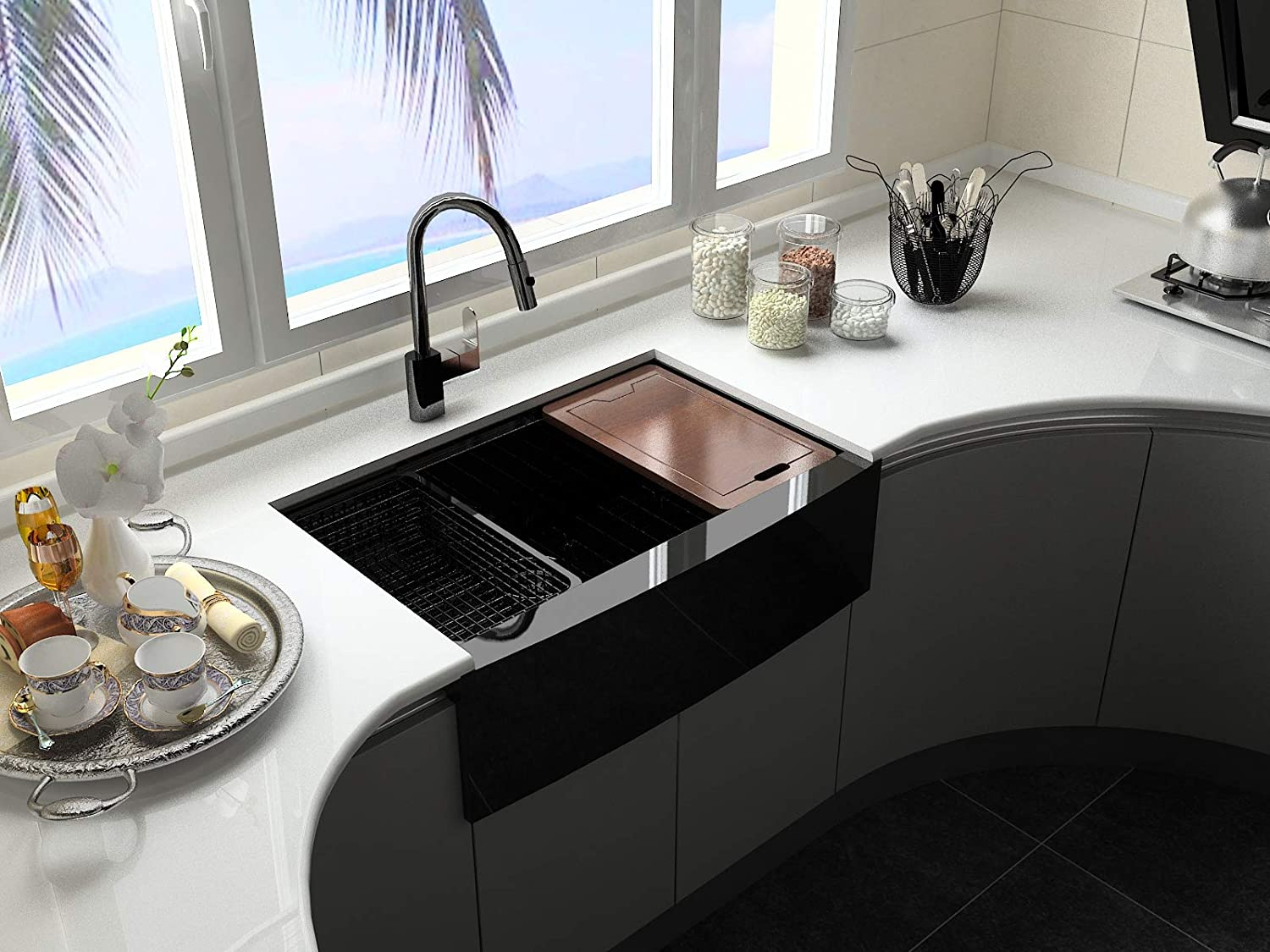 Doirteal 30 inch Black Farmhouse Sink Workstation Undermount 16 Gauge Gunmetal Black Stainless Steel Apron Front Farmhouse Kitchen Sink,10 Deep Single Bowl with Accessories Kit,Self-cleaning BL21S