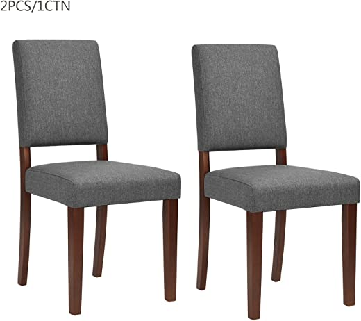 B07GVKZQJC✅Fanilife Lot of 2 Dining Chairs Grey Fabric Solid Wood Dining Room Chairs