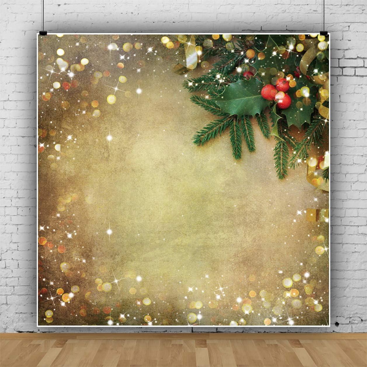 Haoyiyi 10x8ft Sparkly Glitter Christmas Backgrounds Xmas Tree Lights Golden Spots Shinning Sparkle Bokeh Spots Glitter Backdrop Photography Baby Wedding Home Garden Photo Decoration