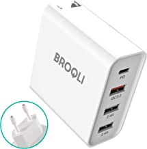 BROQLI 48W USB Type C Portable Wall Charger adapter with EU plug, Power Delivery 3.0 for MacBook Pro/Air 2018, iPad Pro 2018/mini, iPhone XS/Max/XR/X/8/7/Plus, Galaxy Note10/S10/S9, pixel 3 xl (White)