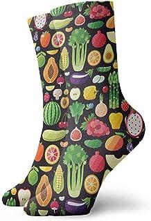 Unisex Crew Socks Calcetines Divertidos Florales Negros Para Hombres Y Mujeres 30 cm