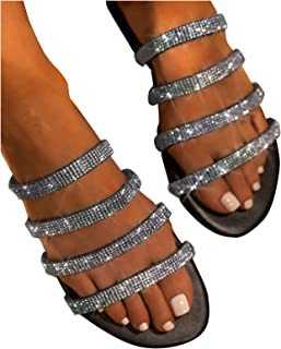 Womens Sandals Rhinestones Buckle Strappy Clip Toe Beach Shoes Flip Flop gy00