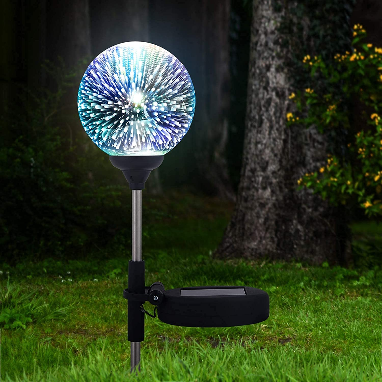 SODELIC Solar Garden Lights 3D Led Ball, Glass Globe Decorative Light, Waterproof Colorful Lamps for Spring Patio Yard Path (1PC)