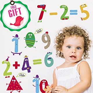 Numbers & Shapes Learning Wall Decals for Kids - Educational Math Classroom Stickers [>30 Cute Art clings] with Free Bird Gift!