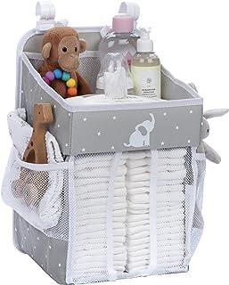 Hanging Nappy Caddy - Crib Nappy Organiser - Nappy Stacker for Crib, Playard or Wall - Newborn Boy and Girl Nappy Holder f...