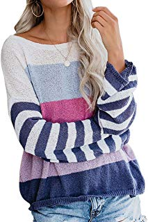 Women Casual Loose Shirts Color Block Striped Long Sleeve Rainbow Sweater