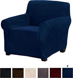 Great Bay Home Original Velvet Plush Stretch Arm Chair Slipcover. Strapless Chair Cover, Furniture Protector for Arm Chairs, Soft Anti-Slip, High Stretch (Chair, Dark Denim Blue)
