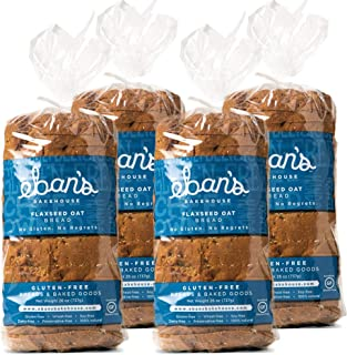 Eban's Bakehouse Fresh Baked Gluten-Free Flaxseed Oat Bread - 4 Loaves - 100% Natural - Soy, Wheat and Dairy Free, Preserv...