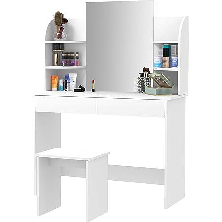 Laneetal Tavolo da Trucco con Specchio e Sgabello Toeletta Cosmetici Grande Consolle Camera da Letto Bianco 0590011