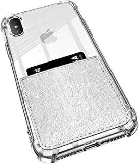 ANHONG iPhone X/Xs Clear Case with Leather Card Holder, [Slim Fit] Protective Soft TPU Shockproof Case with Vegan Leather Card Holder for iPhone X/Xs 5.5 Inch (2018) (Silver)