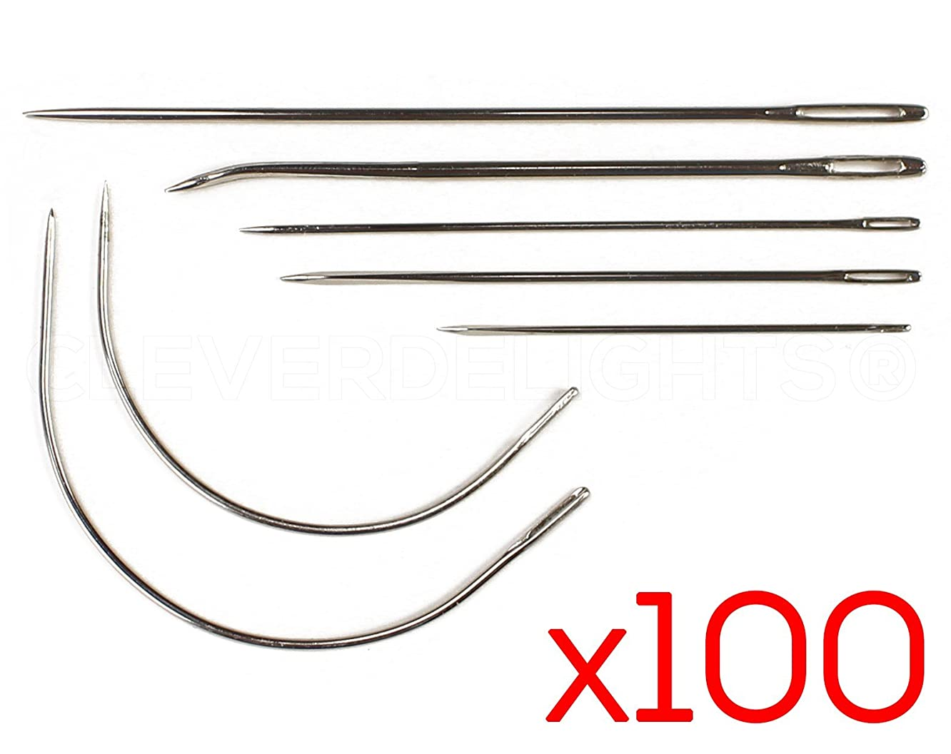 100 Sets - 7 Piece Needle Kit - Stainless Steel Hand Repair Needles - Curved Straight Bulk Needles