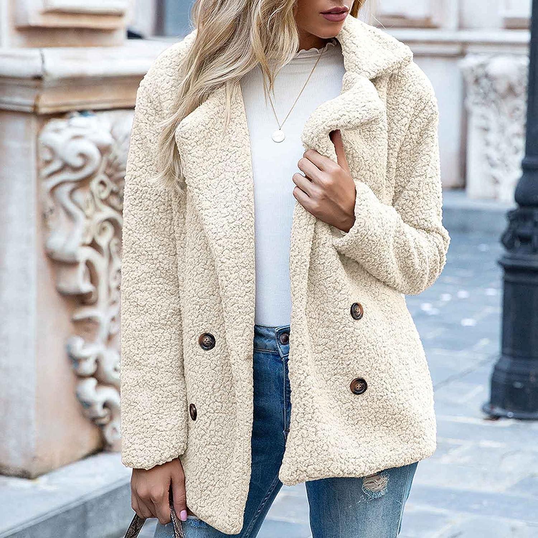Women's Fashion Long Sleeve Lapel Turndown Collar Faux Shearling Shaggy Lambswool Oversized Coat Jacket Warm Winter