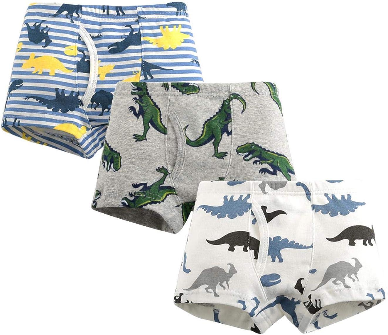 MIMY Boys Soft Cotton Boxer Briefs Toddler Kids Baby Underwear Dinosaur Truck Training Panty 3 Pack 3-10Y Black