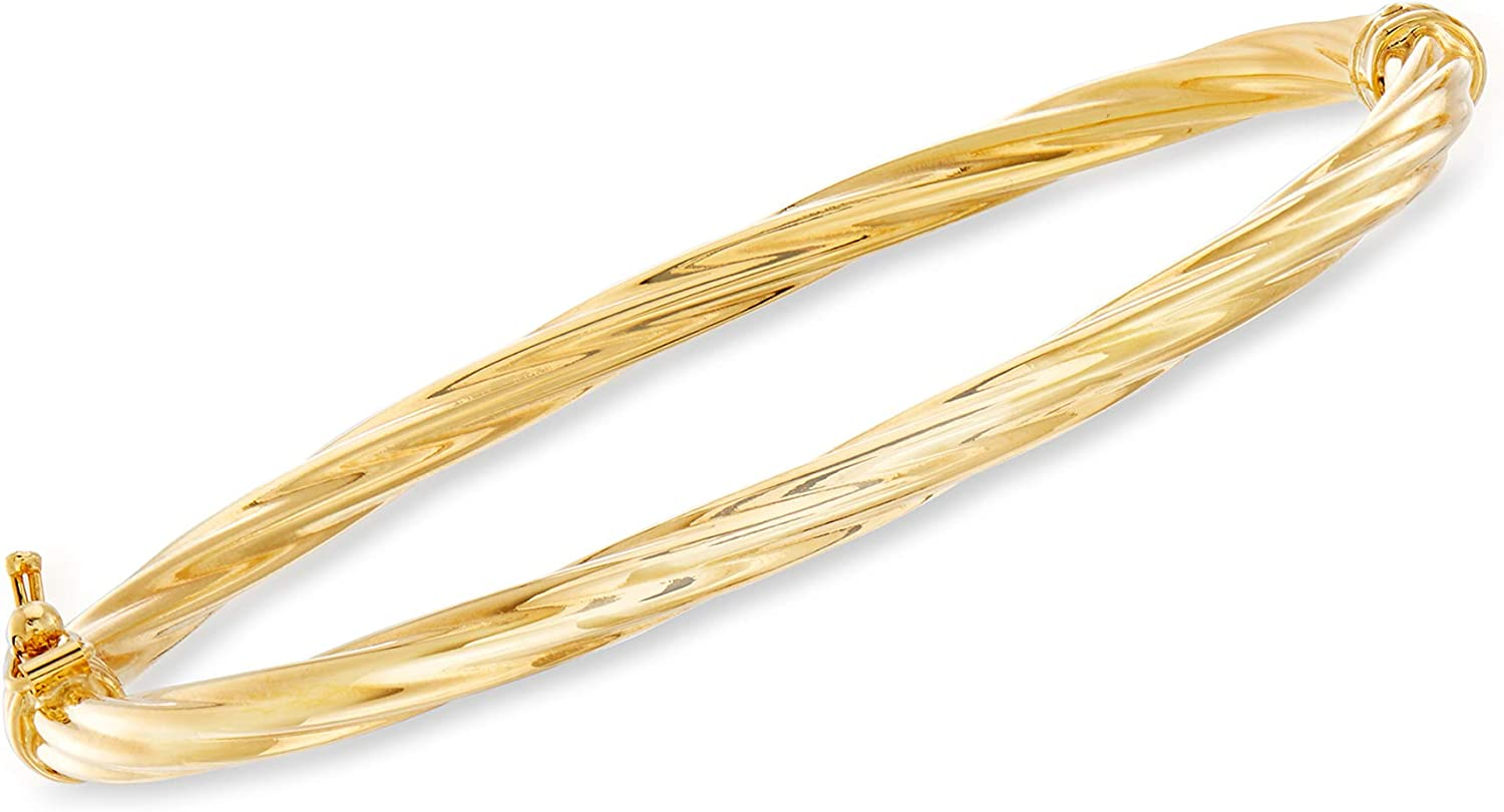 Ross-Simons Italian 18kt Yellow Gold Twisted Bangle Bracelet. 7.25 inches