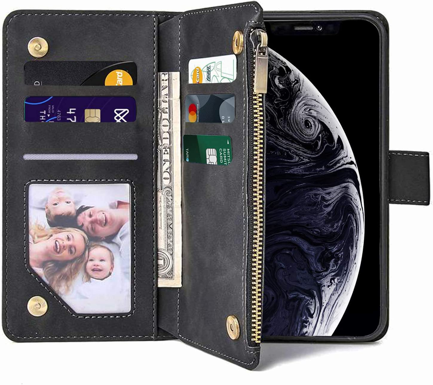 FRYGIKU iPhone 11 Wallet Case, iPhone 11 Case with Card Holder, Flip Case with Magnetic Closure Adjustable with Kickstand TPU Cover Shockproof Case for iPhone 11 6.1 Inch, Wireless Charging, Black