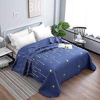 Qucover Colcha Infantil Cama 90 Niño 140x200 Cuburecama Verano de poliéster Azul Oscuro patrón de Estrella fugaz Manta sofá para Cama Individual Juvenil