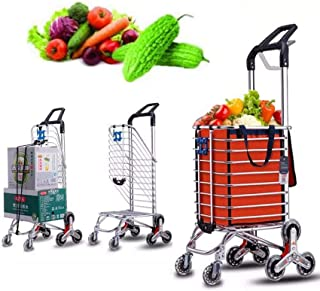 FGDSA Lightweight Shopping Trolley Folding 6 Wheel Large Capacity Shopper Stainless Steel Wear-Resistant Material Adjustab...