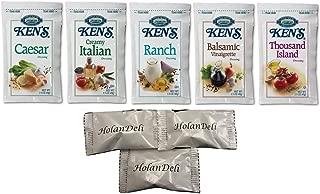 (25 Packets) Ken's Steak House Assorted Salad Dressing 5 Flavors 1.5 oz Packets. (Caesar, Ranch, Creamy Italian, Balsamic Vinaigrette, Thousand Island). Includes HolanDeli Mints.
