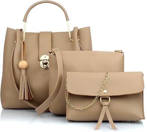 Mammon Women's Handbag With Sling Bag & Wristlet (Set of 3) (3L-bib-Cream_Cream)