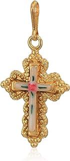 Alex and ANI Divine Guides Women's Floral Enamel Cross Charm for Bracelets.925 Sterling Silver