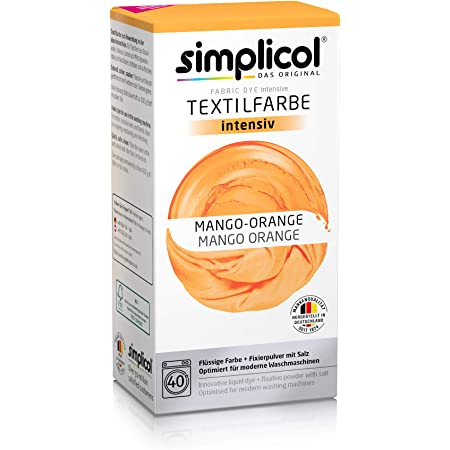 Simplicol Kit de Tinte Textile Dye Intensive Naranja: Colorante para Teñir Ropa, Tejidos y Telas Lavadora, Contiene Fijador para Colorante Líquido, ...
