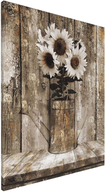 latest Rustic Floral Country Farmhouse Sunflower Printed [Alternative dealer] Framed Canvas