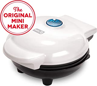 Dash DMS001WH Mini Maker Electric Round Griddle for Individual Pancakes, Cookies, Eggs & other on the go Breakfast, Lunch & Snacks with Indicator Light + Included Recipe Book - White