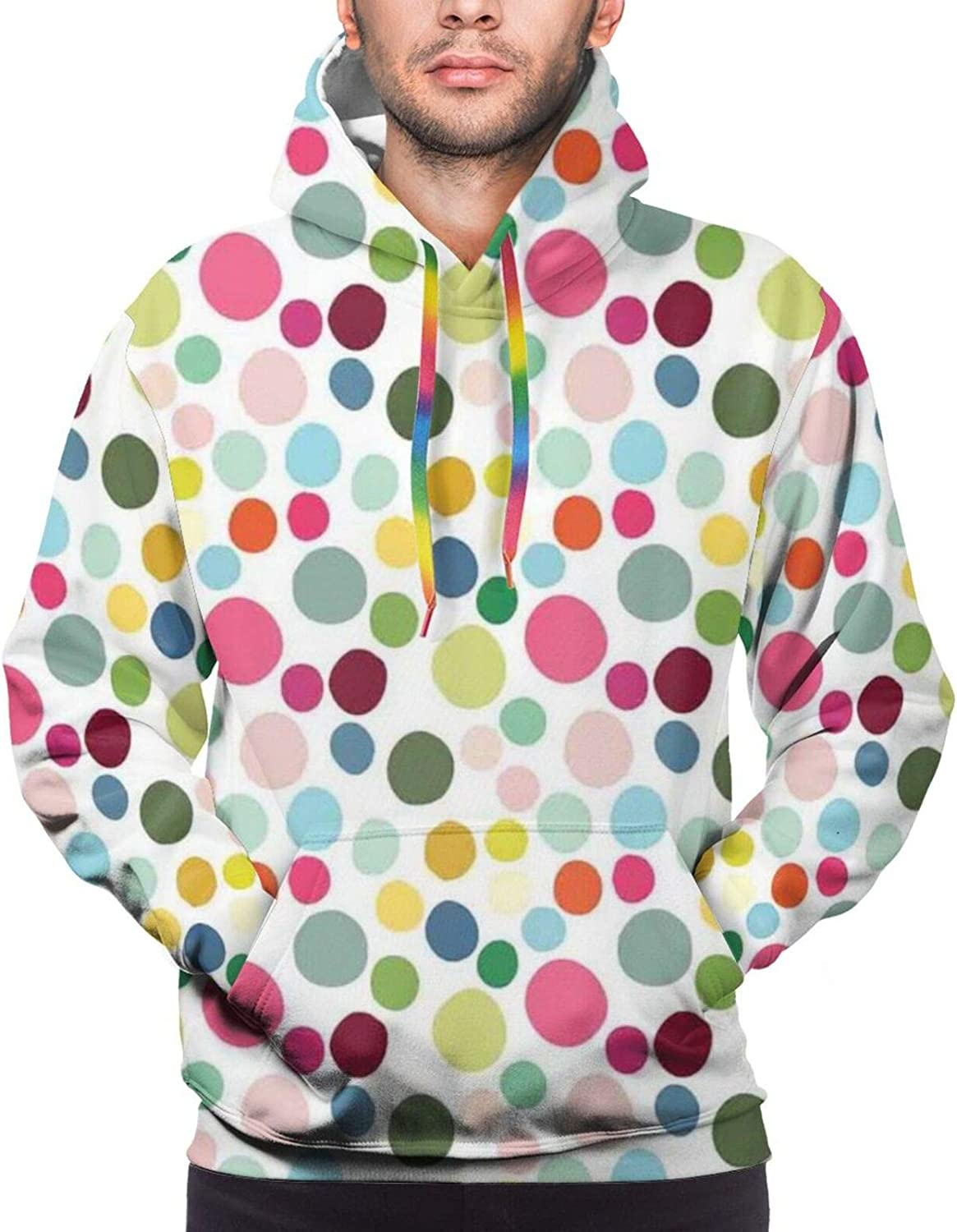 Men's Hoodies Sweatshirts,Abstract Composition of Circular Shapes Colorful Simplistic Design Elements Modern,Small