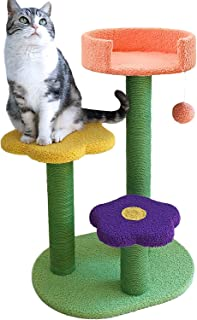 Adorable Cat Scratching Post and Cat Activity Tree Natural Sisal Tower with Sisal Scratching Post Cat Climbing Activity Fl...