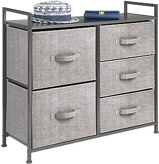 mDesign commode à 5 tiroirs – meuble à tiroirs large pour la chambre à coucher, le salon ou le couloir – rangement vêtemen...