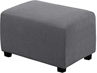 Best Ottoman Slipcovers Rectangle Gray Footrest Sofa Slipcovers Footstool Protector Covers Stretch Fabric Storage Ottoman Covers, High Spandex Slipcover Machine Washable, Ottoman Large Size Review
