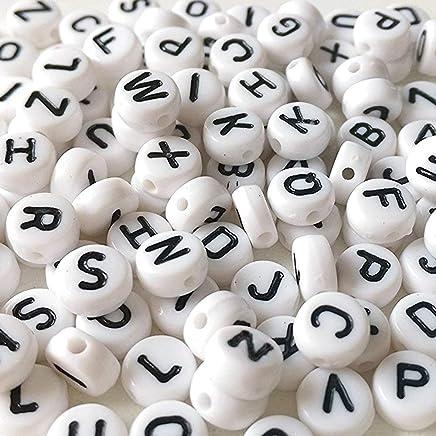 10 Perles Coeur acrylique Noir et blanc 260 Perles Lettre 7mm Alphabet A à Z