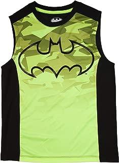 Batman Boys Acid Yellow & Black Sleeveless Muscle Tank Top