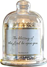 CB Gift Mercury Glass Cloche Dome Candle Holder, D3943, Glass Metal Plastic Wax, Blessing- Numbers 6:24, 5.5 x 7-Inches