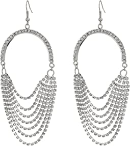 Rhinestone Chain Drape Chandelier Earrings