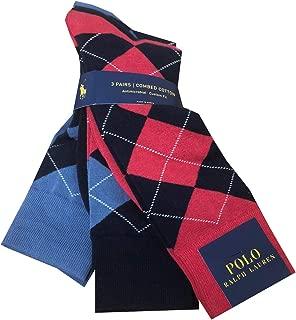 Polo Ralph Lauren Mens 3 Pair Antimicrobial Combed Cotton Argyle Sock