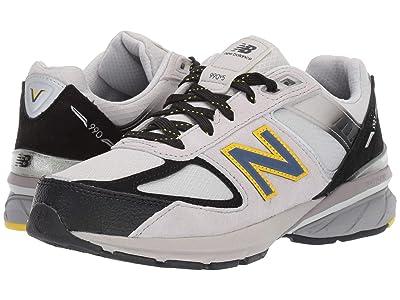 New Balance Kids 990v5 (Big Kid) (White/Black/Yellow) Boys Shoes