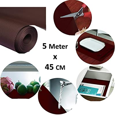 Heart Home Multipurpose Textured Super Strong Anti-Slip Mat Liner,Size 45X500 cm (5 Meter Roll, Brown) - CTHH07106